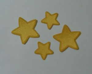 "2"" & 3"" Yellow Star Shaped Iron-On Embroidered Patches"