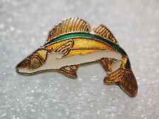 Walleye Fish Pin , Vintage Enamel Lapel Pin