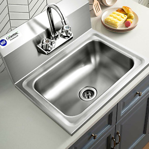 Stainless Steel Sink NSF Wall Mount Hand Washing Sink with Faucet and Back Splas