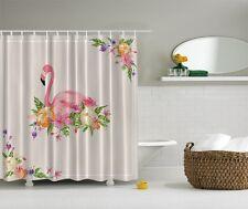 Tropical Pink Flamingo Digital Shower Curtain Paradise Hawaiian Flowers Decor