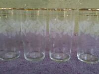"""4 Vtg Bartlett Collins Etched Grapes Gold Trim Tumbler Glasses 12 oz 5.25"""""""
