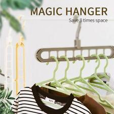 Anti-Skid Folding Magic Clothes Hanger Space Saver Closet Organizer Hook 9-Hole