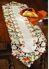 "Thanksgiving Fall Decor Table Runner Pumpkins Acorns Fall Leaves 60"" L Embroider"