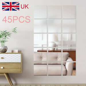 45Pcs Glass Mirror Tiles Wall Sticker Square Self Adhesive Stick On DIY Home Set