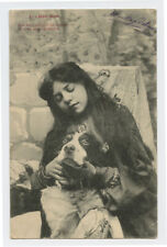 c 1904 Vintage Antique Pretty young LADY w/ DOG Long Hair Girl photo postcard