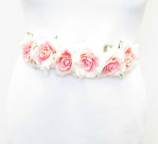 Rose Blush Crème Rose Ceinture Demoiselle D'honneur Mariage Écharpe Fleur Floral