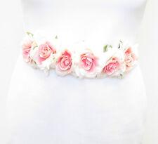 Blush Pink Cream Rose Belt Bridesmaid Bridal Sash Floral Flower Rockabilly 1055