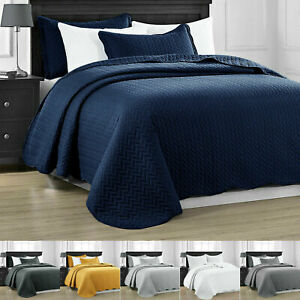 3 Piece Embossed Quilted Bedspread Throw Set Single Double King Super King Size