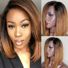 New Bob Style Peruvian Synthetic Hair Wig Short Brown Straight Full Wig