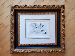 Pablo Picasso Vieillard assis avec une femme et danseuse