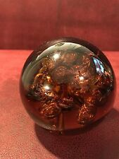 Vintage Amber Murano Controlled Bubbles Paperweight Cristalleria D'arte Art