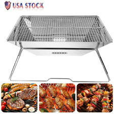 Portable Folding Barbecue Bbq Charcoal Grill Shelf Rack for Camping Picnic Us