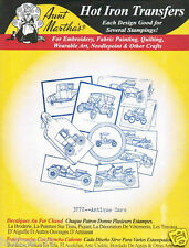 Antique Cars #3772 Aunt Martha's Hot Iron Embroidery Transfer Pattern
