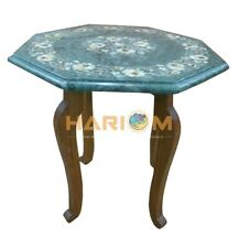 """12"""" Marble Coffee Table Top With 15"""" Stand Mother of Pearl Arts Inlay Decor B178"""