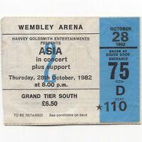 ASIA & CHRIS BLISS Concert Ticket Stub LONDON UK 10/28/82 WEMBLEY ARENA Rare