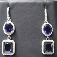 Sparkling Blue Sapphire Halo Drop Earrings Women Wedding Engagement Jewelry Gift