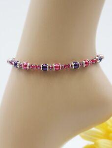 XS Zarte Fußkette Fußkettchen Silber Sommer Perlen Rot Violett Strand #JA049