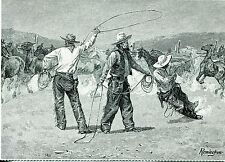 1989 Post Card Of Great Art Works Roping In A Horse-Corral By Frederic Remington