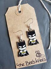 Batman Bruce Wayne enamel charm handmade earrings silver earwires hooks