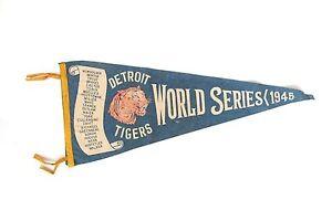Vintage 1945 Detroit Tigers World Series Blue Baseball Pennant : vs Chicago Cubs