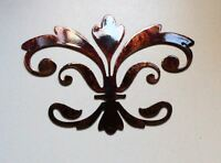 "Ornamental Fleur de Lis Copper/Bronze Metal Wall Decor 8"" wide x 5 1/2"" tall"