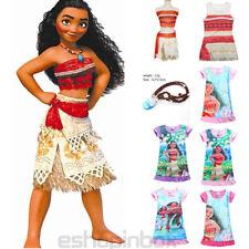 Kids Costume Moana Princess Girl Fancy Dress Cosplay Sundress Clothes Nacklace