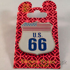 Disney Pin Route U.S. 66 Sign USA American Flag Cars Land 2016