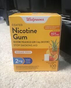 Walgreens Coated Nicotine Gum 2mg 100 Pieces, Fruit Freeze Exp. 06/2022.