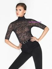 WOLFORD Rosaria Shirt black lace top blouse rose highneck victorian gothic M NWT