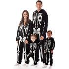 Halloween Family Matching Skeleton Print Zipper Hoodie Romper Cosplay Costume