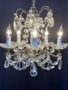 Antique French Bronze Brass Crystal Beaded Chandelier Petite Girandole