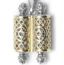 Filigree Torah Scroll Pendant Sterling Silver & 14K Gold Judaica Jewish Men's