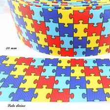 Ruban gros grain puzzle multicolore de 38 mm vendu au mètre
