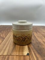 Vintage Porcelain Cattails Condiment Jar with Lid Made in Portugal Signed