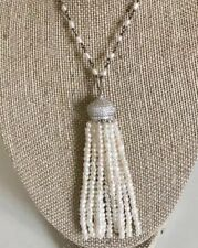Ivory Freshwater Pearl Tassel Necklace With A Pave Cubic Zirconia Cap Pearl