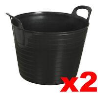 2 x BLACK 42L 42 Litre Large Flexi Tub Garden Flexible Storage Container Trendy