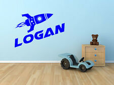 """Rocket Ship Name Wall Decal Monogram for Childs Room Vinyl Wall Decal 15"""" Tall"""