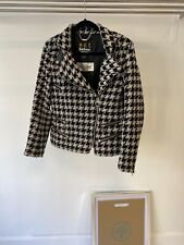 Barbour International Black and White Wool Houndstooth Biker Jacket UK 12