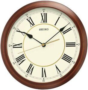 *BRAND NEW* Seiko Round Wood Color Finish Wall Clock QXA597ALH