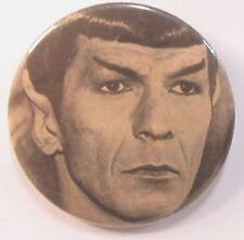 "older Star Trek MR. SPOCK large 3"" b&w photo pinback button"