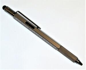 Pocket Pen Screw Driver Stylus Bubble Level Ruler Multi-Tool 6 in 1 Silver