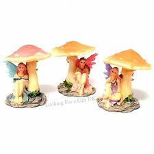 Fairy under Mushroom - set of 3 mini figures, figurines, ornament