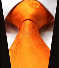 Tangerine Orange Tie Set Floral Paisley Wedding Silk & Free Hanky