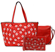 3pc Vieta Floral Tote w/ Pull-out Crossbody + Crossbody Wristlet Clutch- Red