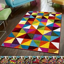 Large Rugs Living Room Bedroom Carpet Thick Shaggy Bright Multicoloured Area Rug
