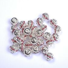 10pcs Quality Czech Crystal SILVER PLATED Charms Spacer BEADS - Choose 6-10MM