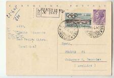 1951 RACCOMANDATA Cartolina POSTALE L.25 da SAN POTITO ULTRA+L.60 OLIMPIADI-M753