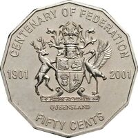 2001 Australian 50 Cent Coin QUEENSLAND Centenary Of Federation Commemorative