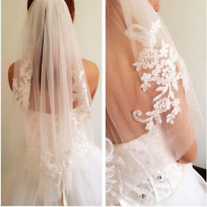 Short 1T White Ivory Bridal Veil with Comb Lace Applique Crystal Wedding Veils B