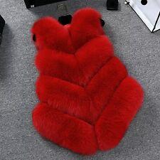 Women Lady Warm Faux Fox Fur Waistcoat Jacket Coat Short Slim Vest Gilet Outwear Red M